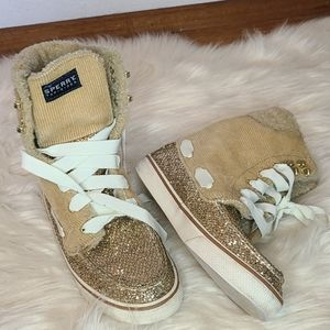 Sperry top sider tan corduroy & glitter boots 6.5